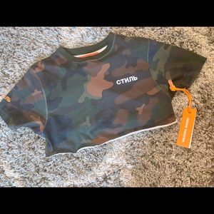 Heron Preston camouflage crop top